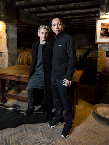 Kaki King and John Maeda in the Founder's Cellar